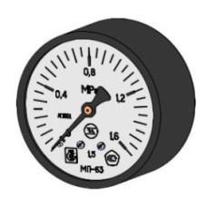 Манометр с осевым штуцером | ∅63 мм